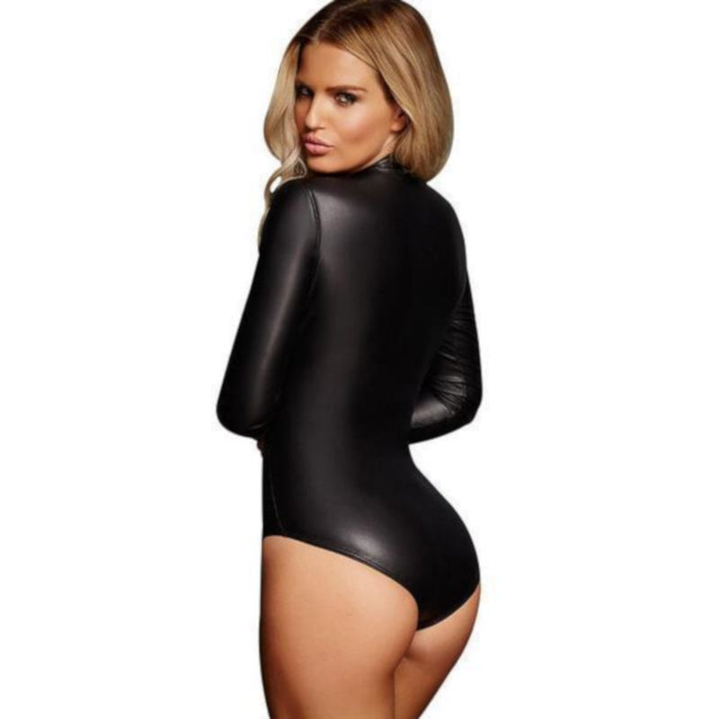 Womens Alternative Long Sleeve Black Faux Leather Bodysuit-Bodysuit-Edgy Couture