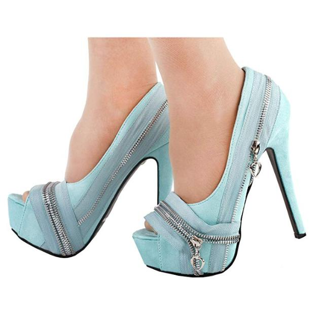 Women's Baby Blue Punk Rock Peep Toe Dress Pumps  Pumps Edgy Couture