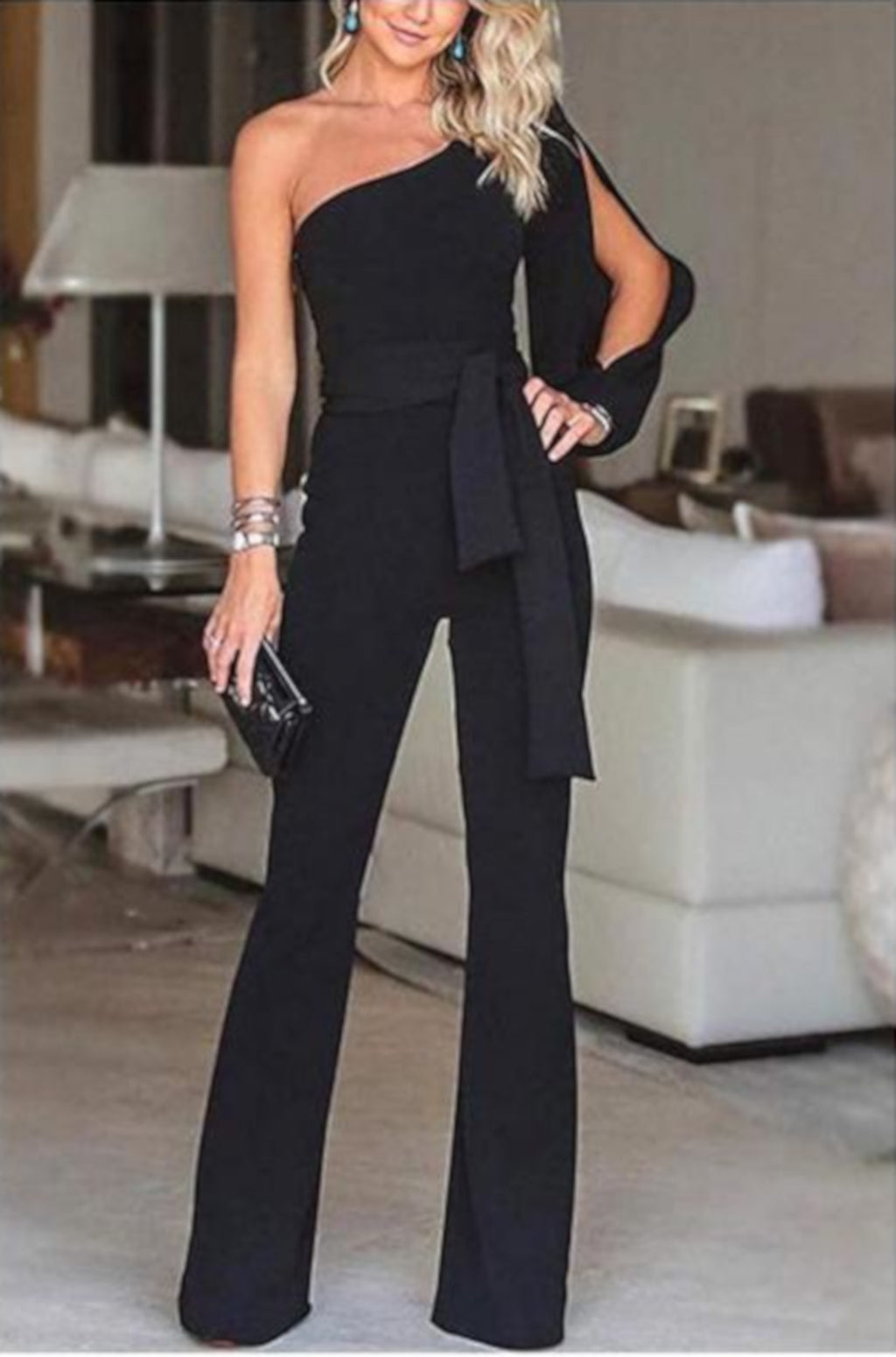 Women Black Wide Leg Off The Shoulder Business Suit Jumpsuit