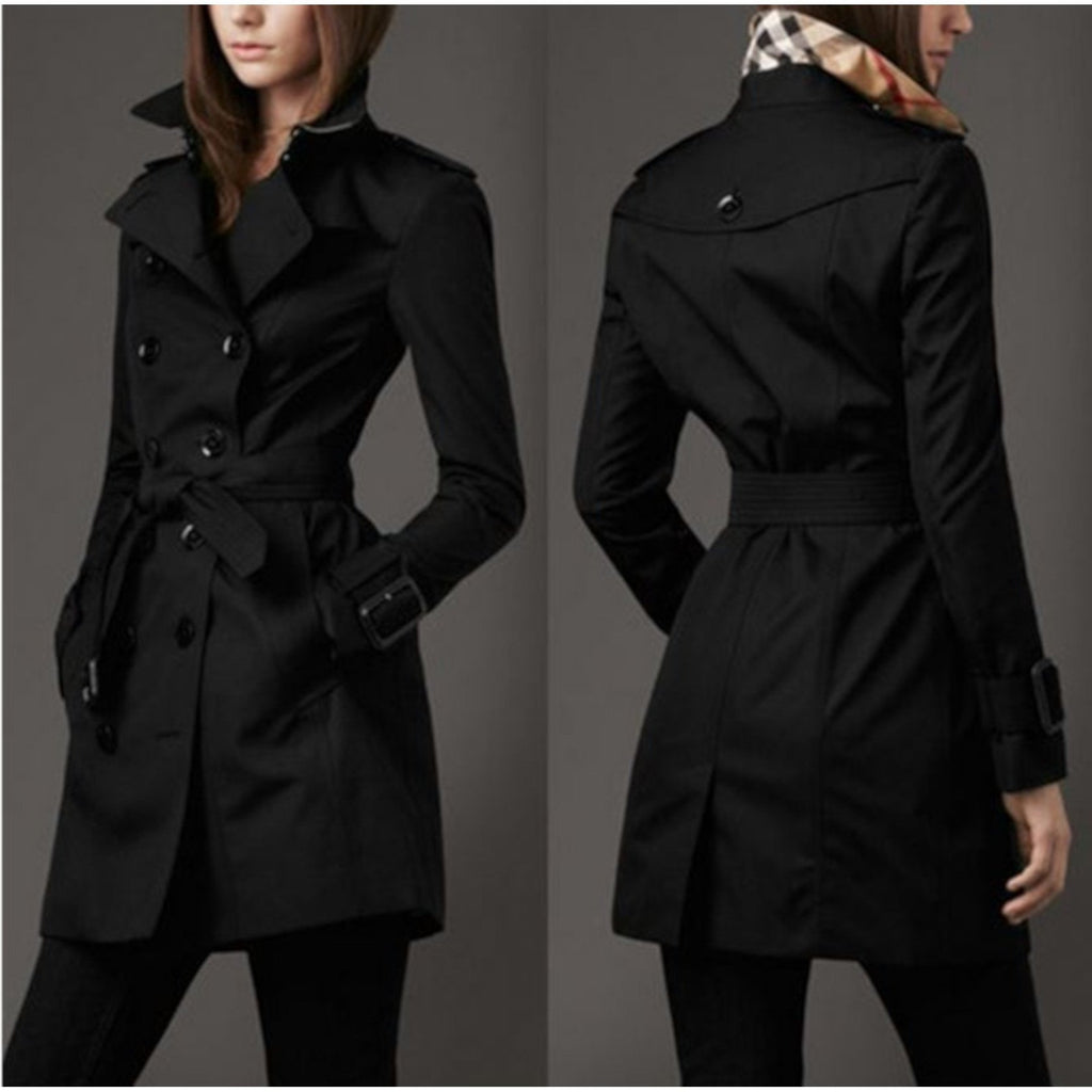 Womens Black Double Breasted Trench Coat Lightweight Rain Jacket X-Large / Black Trench Coat Edgy Couture