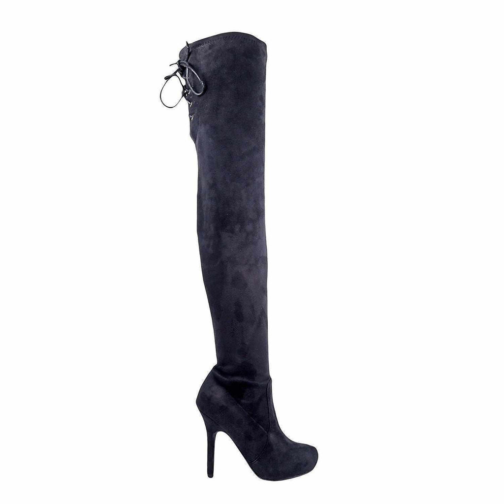 Women's Black Faux Suede Platform Thigh High Boots 5.5 / Black Thigh High Boots Edgy Couture
