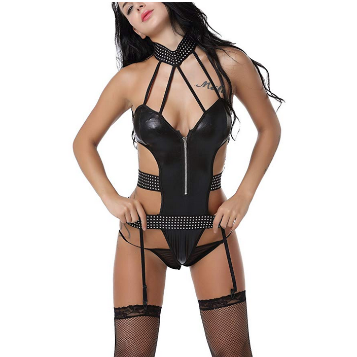 Womens Black Leather Choker Studded Intimate Bodysuit  Bodysuit Edgy Couture