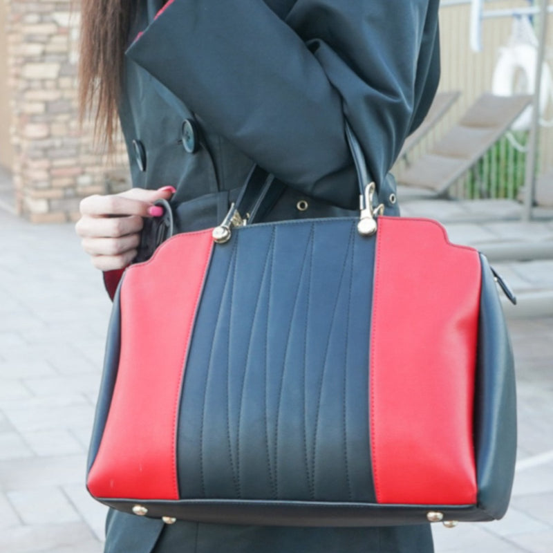 Womens Black Leather Red Stripe Adjustable Handbag