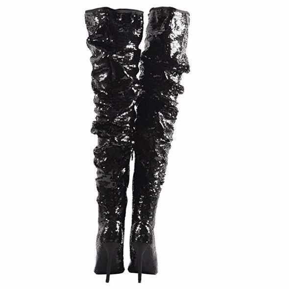 Women's Black Sequin Open Toe Thigh High Boots  Thigh High Boots Edgy Couture