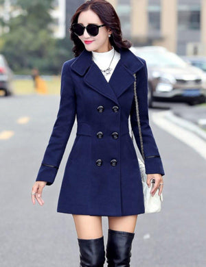 Womens Blue Double Breasted Lightweight Peacoat Dress Jacket  Pea Coat Edgy Couture