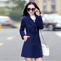 Womens Blue Double Breasted Lightweight Peacoat Dress Jacket X-Large / Blue Pea Coat Edgy Couture