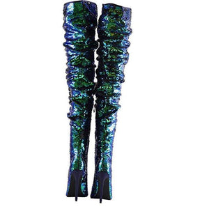 Women's Blue Sequin Open Toe Thigh High Boots  Thigh High Boots Edgy Couture