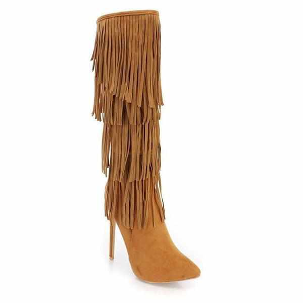 Women's Brown Faux Suede Retro Fringe High Boots 10 / Brown / Suede Knee High Boots Edgy Couture