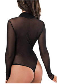 Womens Casual Long Sleeve Black Mesh Wrap Around Bodysuit-Bodysuits-Edgy Couture