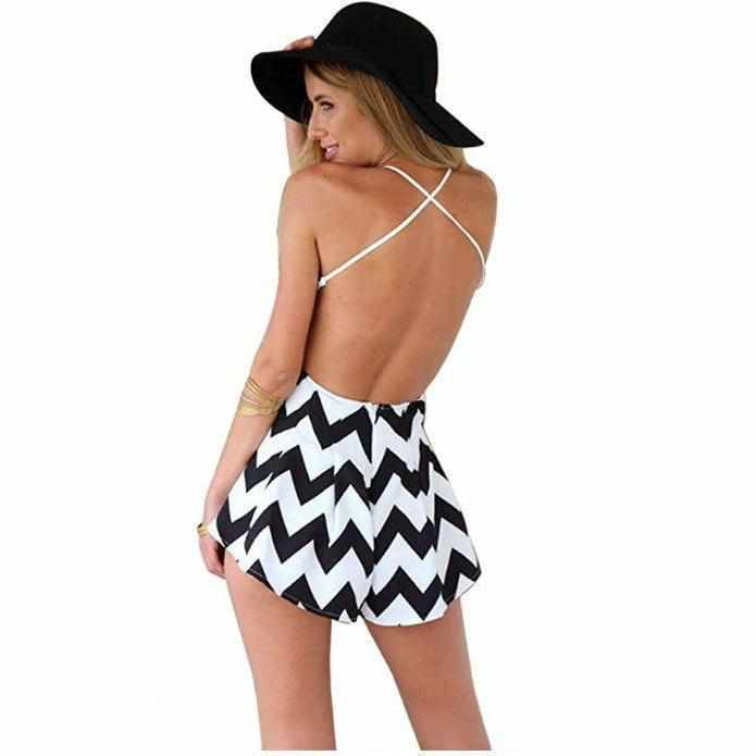 Women's Classic Black & White Backless Summer High Waist V Neck Romper  Rompers Edgy Couture