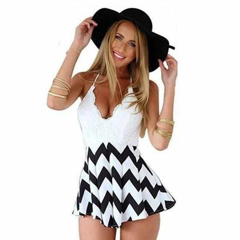 Women's Classic Black & White Backless Summer High Waist V Neck Romper-Rompers-Edgy Couture