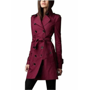 Women's Dark Red Double Breasted Lightweight Trench Coat Rain Jacket  Trench Coat Edgy Couture