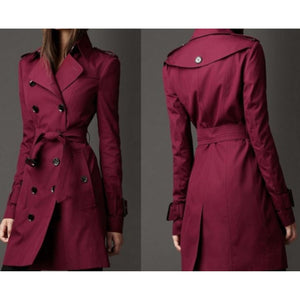 Women's Dark Red Double Breasted Lightweight Trench Coat Rain Jacket X-Large / Red Trench Coat Edgy Couture