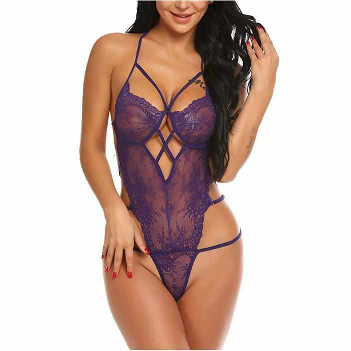 Women's Dominant Purple Backless Lace Teddy Lingerie  Bodysuits Edgy Couture