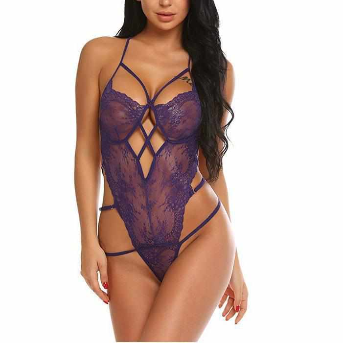 Women's Dominant Purple Backless Lace Teddy Lingerie-Bodysuits-Edgy Couture-Small-Purple