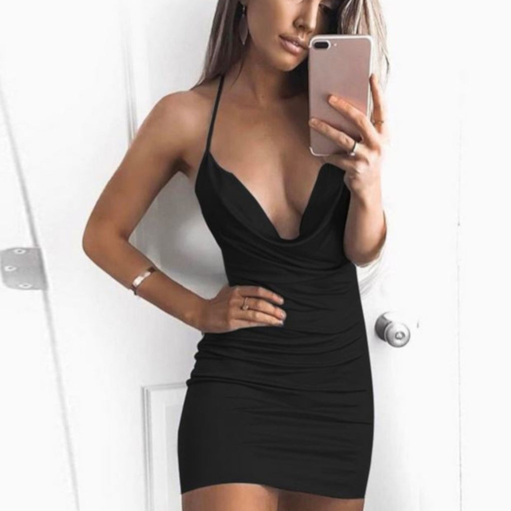 Women's Edgy Black Backless Cocktail Party Mini Dress