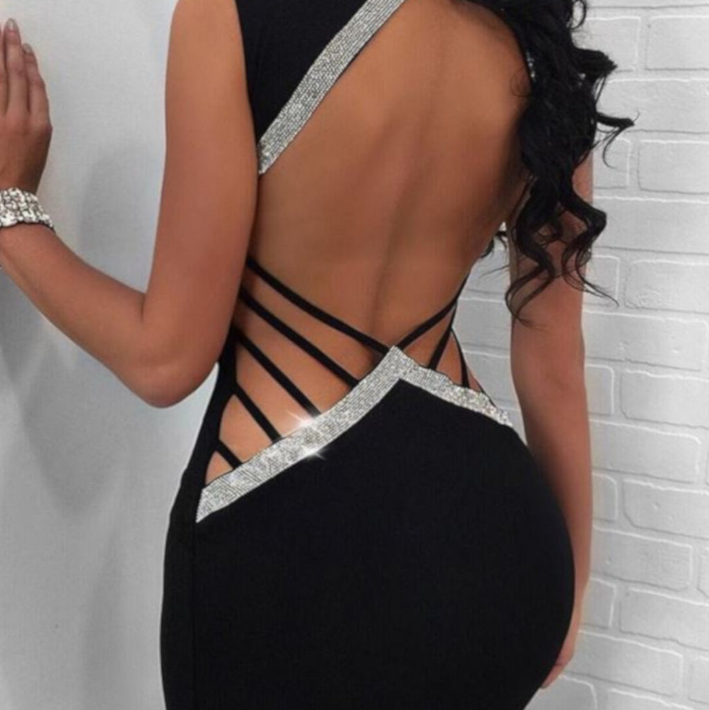 Women's Edgy Black Shimmering Backless Strappy Party Dress X-Large / Black Bodycon Dress Edgy Couture