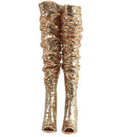 Women's Gold Sequin Open Toe Thigh High Boots 10 / Gold / Sequin Thigh High Boots Edgy Couture