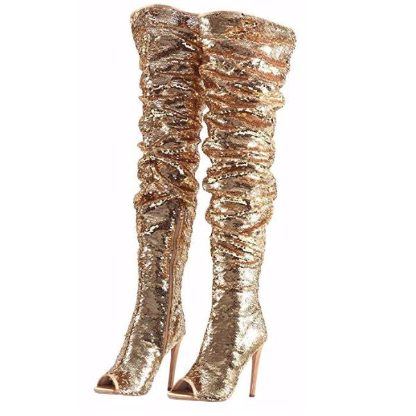 Women's Gold Sequin Open Toe Thigh High Boots  Thigh High Boots Edgy Couture