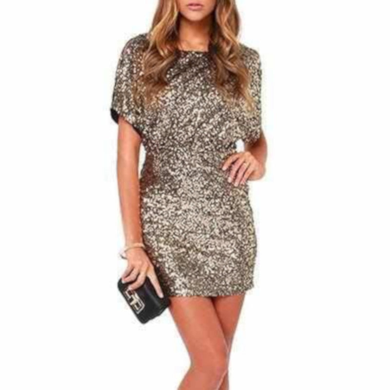 Womens Gold Sequin Qtr Sleeve Bodycon NYE Party Dress