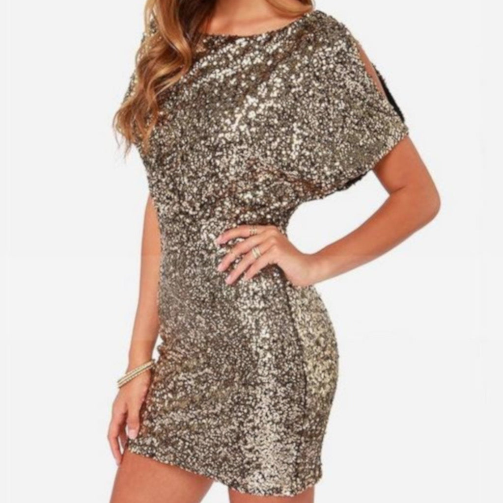 Womens Gold Sequin Qtr Sleeve Bodycon NYE Party Dress X-Large / Gold Party Dress Edgy Couture