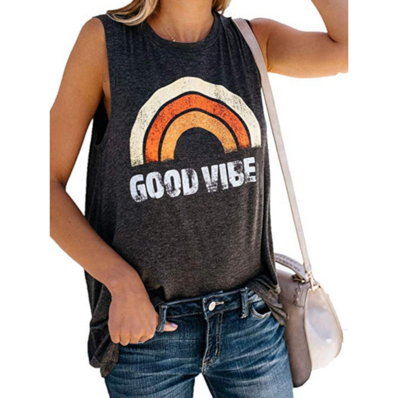 Women's Good Vibes Funny Motivational Graphic T-Shirt Tank  T-Shirts Edgy Couture