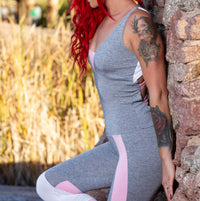 Womens Grey & Pink One Piece Yoga Pants Jumpsuit