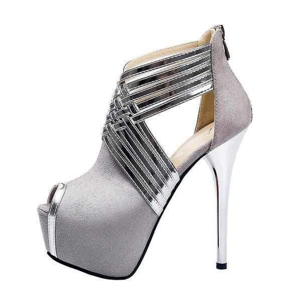 Women's Grey & Silver Cross Strap Peep Toe Ankle Boots 10 / Grey / PU Wedding Shoes Edgy Couture