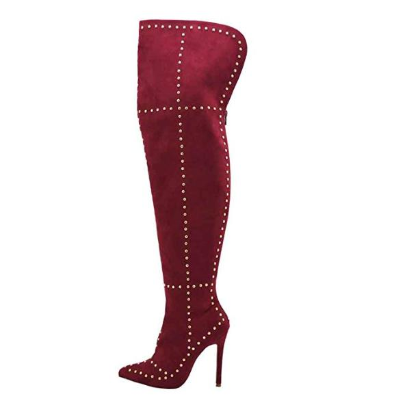 Women's Hot Red Faux Suede Studded Thigh High Boots 10 / Red / Faux Suede Knee High Boots Edgy Couture