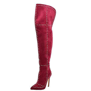 Women's Hot Red Faux Suede Studded Thigh High Boots  Knee High Boots Edgy Couture