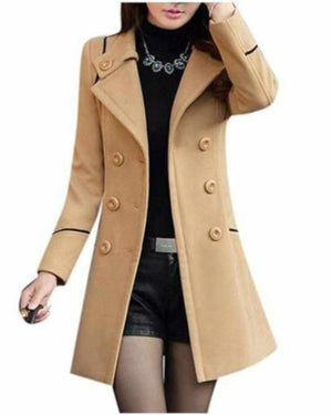 Womens Khaki Tan Double Breasted Light Weight Pea Coat  Pea Coat Edgy Couture