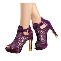 Women's Purple Wedding Lace Ankle Boot Dress Shoes 10 / Purple / PU Wedding Shoes Edgy Couture
