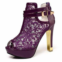 Women's Purple Wedding Lace Ankle Boot Dress Shoes  Wedding Shoes Edgy Couture
