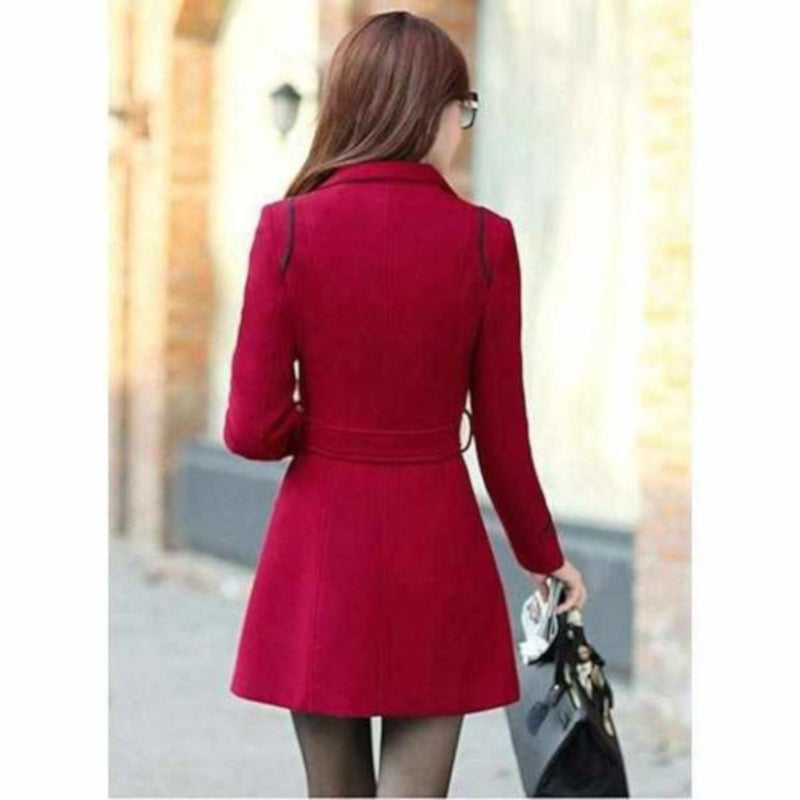 Womens Red Double Breasted Light Weight Pea Coat  Pea Coat Edgy Couture