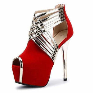 Women's Red & Gold Cross Strap Peep Toe Ankle Boots 10 / Red / PU Wedding Shoes Edgy Couture