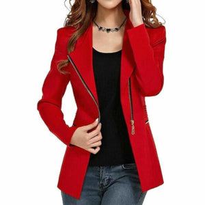 Womens Red Side Zip Gold Accent Long Sleeve Office Blazer Jacket  Blazers Edgy Couture