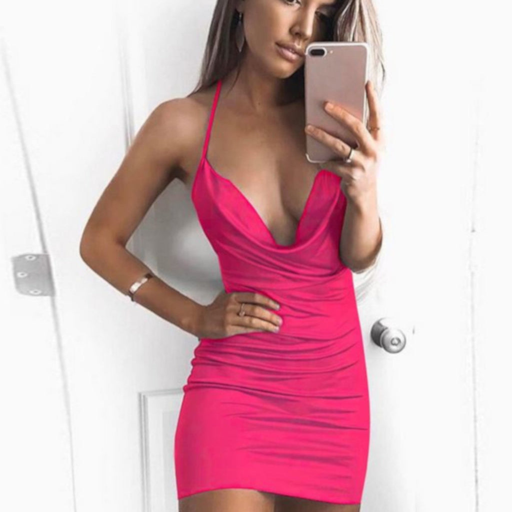 Women's Sassy Pink Low Cut Strappy Cocktail Dress