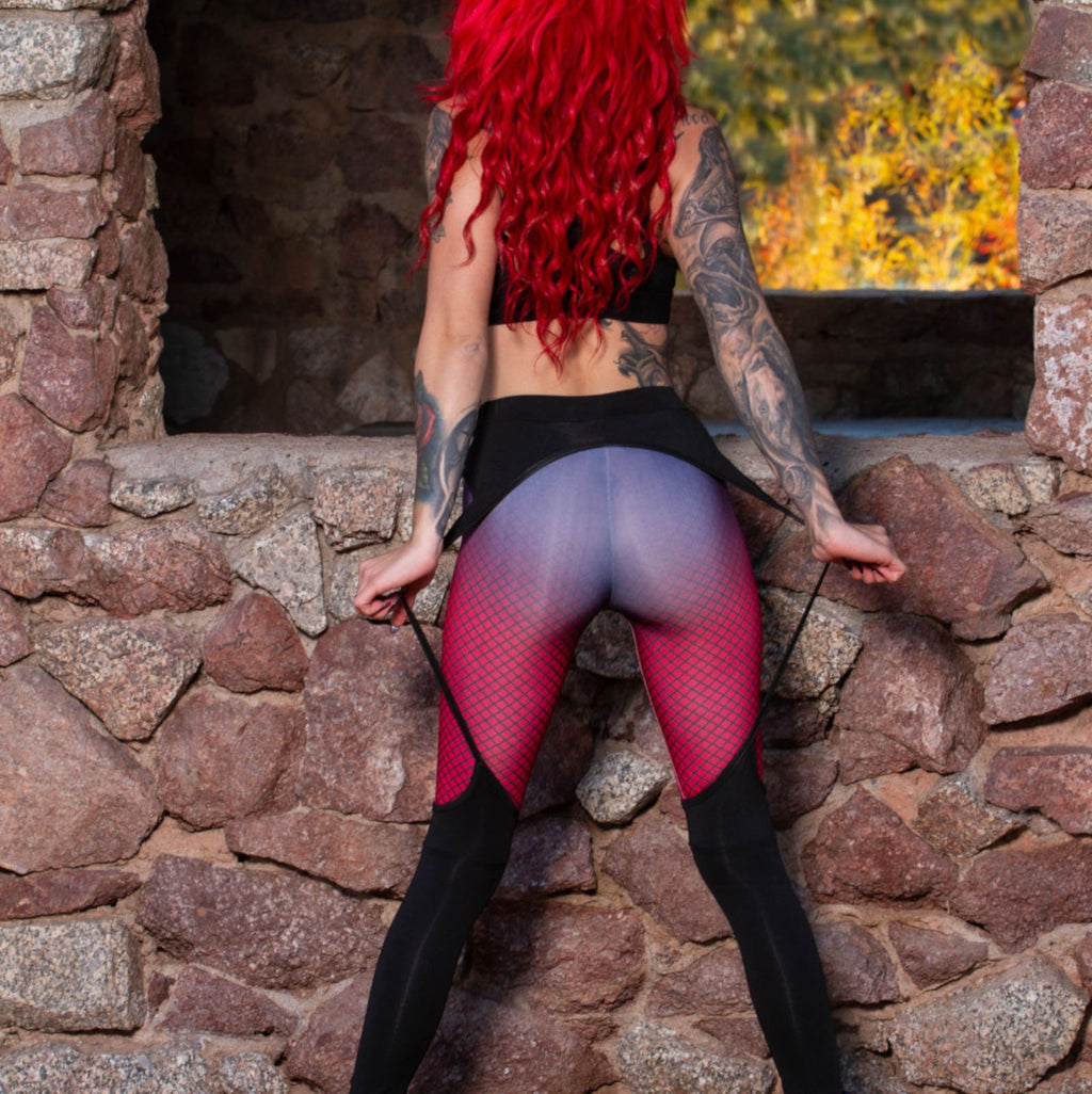 Womens Sexy Black and Red Garter Workout Spandex Leggings Large / Red Leggings Edgy Couture