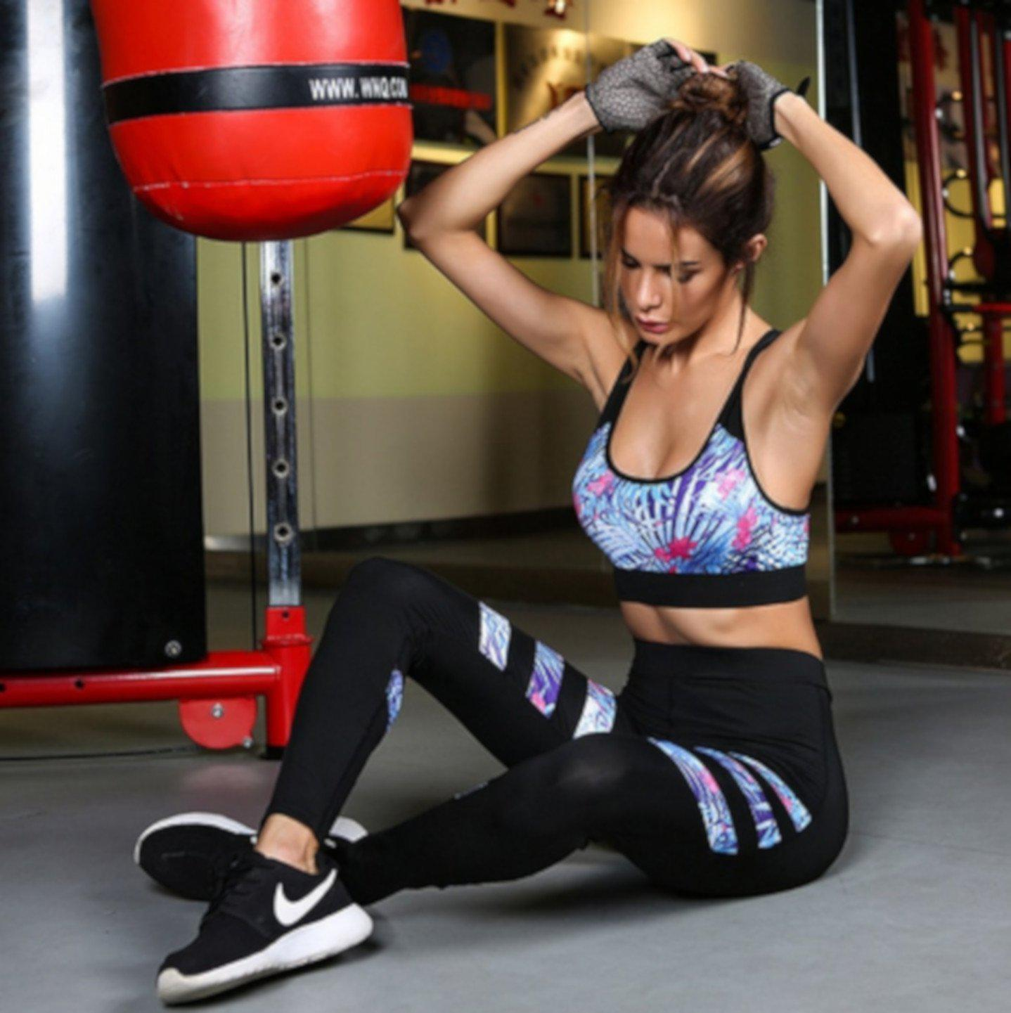Womens Sexy Black & Blue Two Piece Workout Leggings Sports Bra Set Small / Blue Leggings Edgy Couture