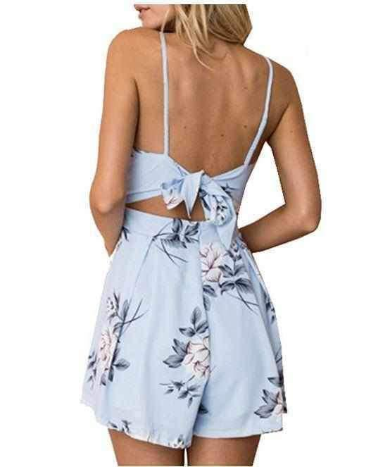 Women's Sexy Blue Floral Open Back Cut Out Sun Shorts Romper  Rompers Edgy Couture