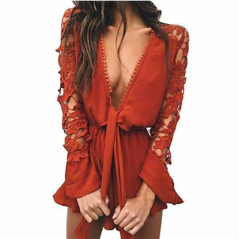 Women's Sexy Burnt Red Long Sleeve Shorts Romper X-Large / Red / Rayon Rompers Edgy Couture