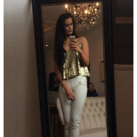 Women's Sexy Gold Sequin Spaghetti Strap Tank Top Camisole  Tank Tops Edgy Couture