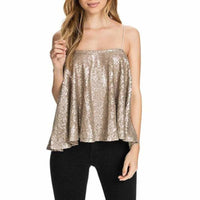 Women's Sexy Gold Sequin Spaghetti Strap Tank Top Camisole XXL / Gold Tank Tops Edgy Couture