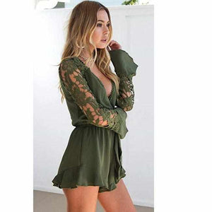 Women's Sexy Green V Neck Cut Out Long Sleeve Shorts Romper  Rompers Edgy Couture