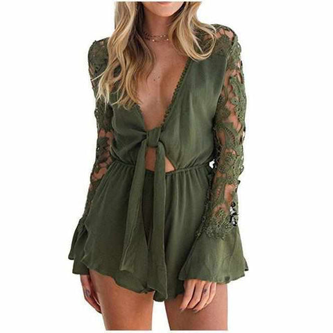 Women's Sexy Green V Neck Cut Out Long Sleeve Shorts Romper-Rompers-Edgy Couture