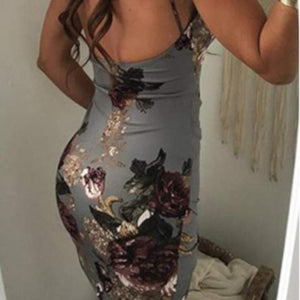 Womens Sexy Grey Floral Spaghetti Strap Mini Bodycon Dress