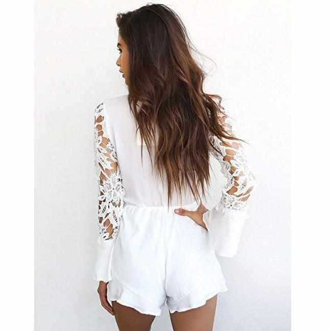 Women's Sexy White V Neck Cut Out Long Sleeve Shorts Romper-Rompers-Edgy Couture