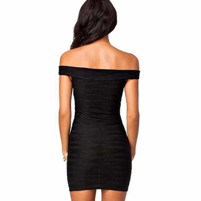 Women's Simple Black Off Shoulder Bandage Dress  Bandage Dress Edgy Couture