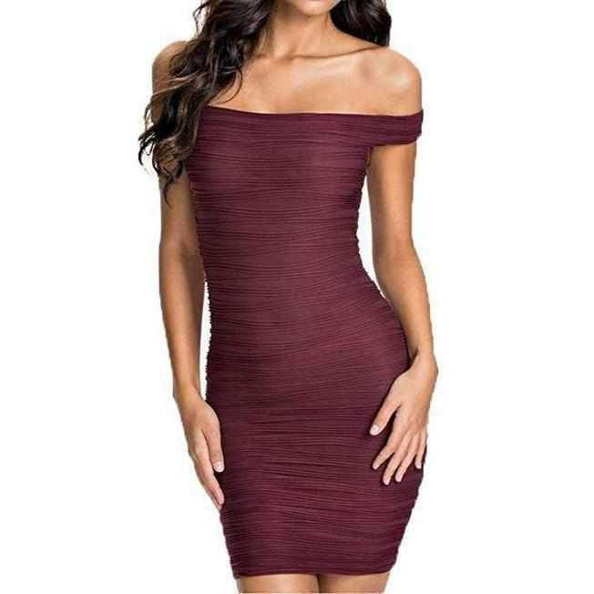 Women's Simple Burgundy Off Shoulder Bandage Dress Large / Burgundy / Polyester Bandage Dress Edgy Couture
