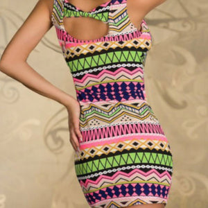 Womens Green Geometric Sleeveless  Sundress Cocktail Dress